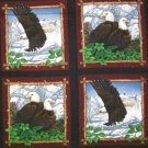 WILDLIFE PRINTS FABRIC PILLOW PANEL FOUR IN ONE YARD EAGLE OVERLOOK NEST
