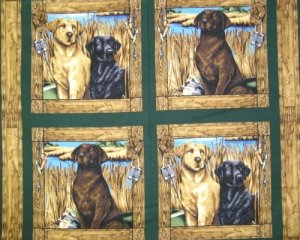 WILDLIFE PRINTS FABRIC PILLOW PANEL FOUR IN ONE YARD DOGS LIFE LABARADOR