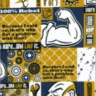 FREE SPIRIT BE A MAN FABRIC WORK HARD MAN SAYINGS GOLD AND BLACK NEW ON BOLT