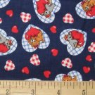 KITTY IN HEARTS NAVY RED PINK WHITE SOUTH SEAS 56 INCH COTTON NEW
