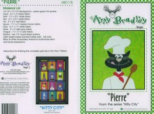 AMY BRADLEY Kitty City PIERRE Quilt Block Pattern only free ship