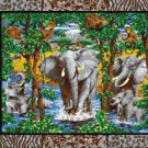 Wall Hanging Panel Animal Elephant Social Africa COTTON FABRIC 44'' x 35'' panel