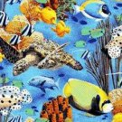 Coral Seas Allover Tropical Fish Print Marshall Dry Goods 100% COTTON FABRIC BTY