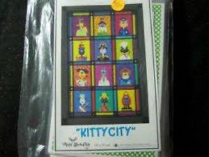 AMY BRADLEY DESIGNS Kitty City ALL 12 Quilt Blocks and finishing fabrics kit