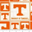 "Licensed Collegiate Print Cotton Fabric University of Tennessee Patch 44"" Wide"
