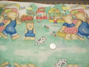 "Fat quarter 18x22 "" Cotton Quilt Fabric COUNTRY FAIR BEARS PRINCESS 1248"