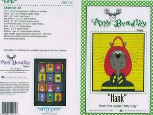AMY BRADLEY Kitty City HANK Quilt Block kit fabric fusible embellishments