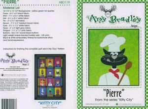 AMY BRADLEY Kitty City PIERRE Quilt Block kit fabric FUSIBLE EMBELLISHMENTS