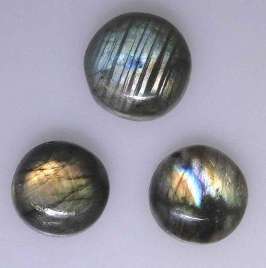 3 Labradorite round cabochons, multi color flashes, 67.77 carats total