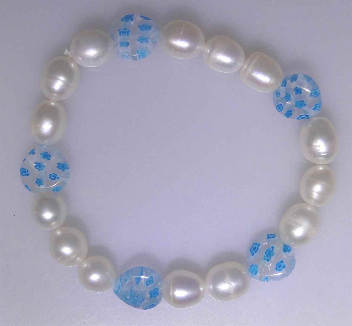 White Freshwater Pearl bracelet with glass Miliflore style beads, new