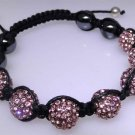 New cord bracelet with flashy bright pink sparkle beads, Hematite