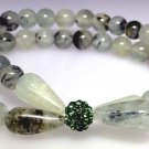 Prehnite rutile bead bracelet with green sparkle bead