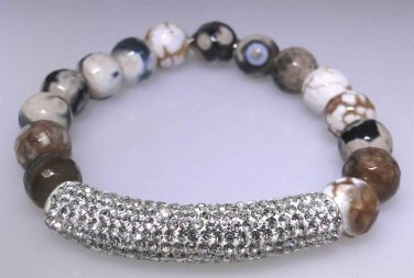 New elastic fashion bracelet with faceted Agate beads, sparkle bar