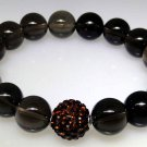 Smoky Quartz and sparkle bead elastic bracelet, new not worn