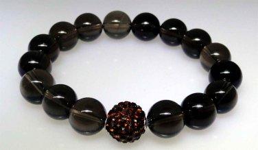 Smoky Quartz and sparkle bead elastic bracelet, new not worn