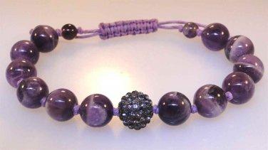 New adjustable Amethyst Quartz bead bracelet with sparkle bead