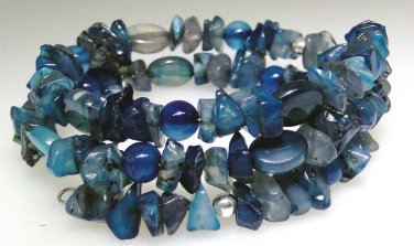 New Blue Agate chip and bead coil bracelet