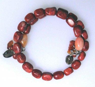 New coil oval  Sponge Coral bracelet