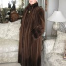 "Natural Mahogany Sheared Mink Coat with Long Hair Mink Trim 52"""