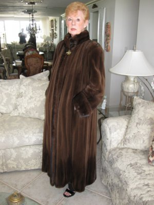 Mahogany Sheared Mink Coat with Long Hair Mink Trim 52&quot