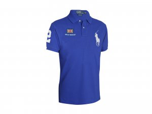 Custom Fit Ralph Lauren Big Pony Flag Polo. Great Britain Royal Blue