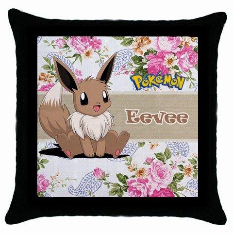How To Make A Cute Pillow Case : Cute Pokemon Eevee Throw Pillow Case Black