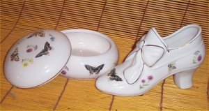 Chic Porcelain Shoe And Floral Butterfly Trinket Box New Gift