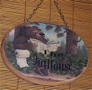 Bear Wall Plaque Sign Outhouse Door Wood Lodge Cabin