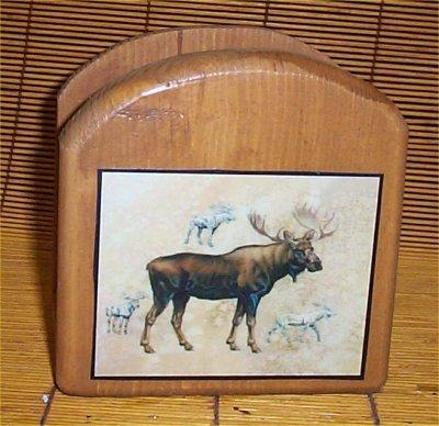 Moose Napkin Holder Solid Wood Lodge Kitchen Cabin New