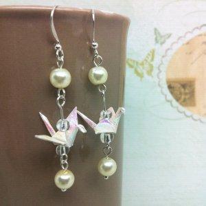 origami crane earrings - bride wedding white