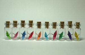 miniature origami paper crane necklace (pick your color)