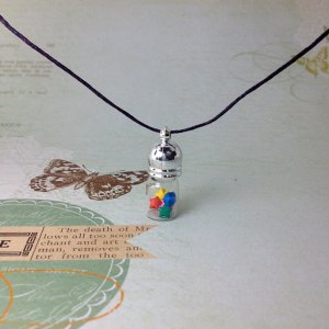 miniature origami paper star glass vial necklace