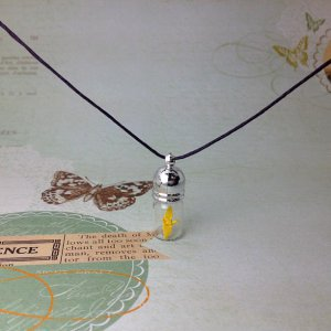 bottle necklace - origami paper crane glass bottle necklace (yellow)