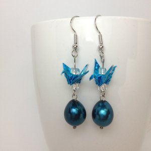 origami paper crane earrings something blue