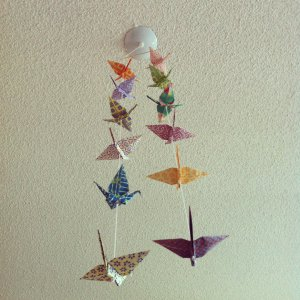 origami paper cranes hanging mobile