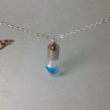 origami crane necklace glass bottle vial / great gift for wedding, Valentine's Day origami jewelry