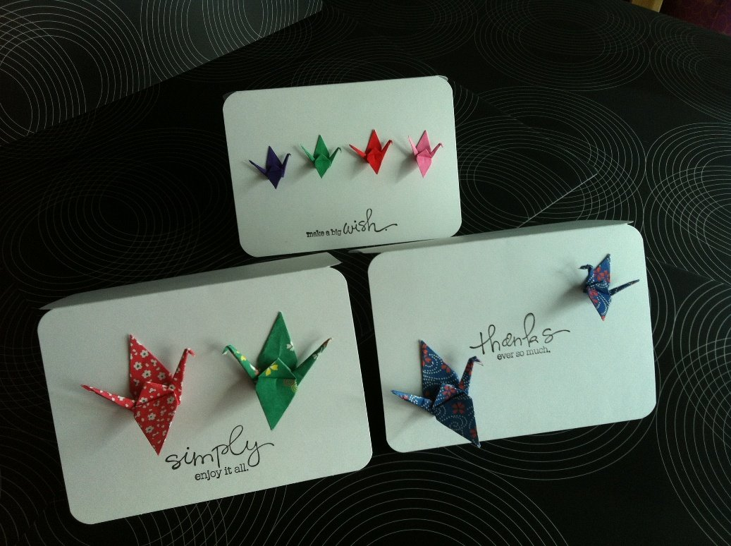 Origami Cranes Cards (Set of 4) Thank you card - photo#43