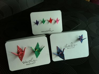 Origami Cranes Cards (Set of 4) Thank you card