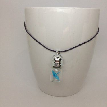 miniature origami paper crane glass vial necklace (light blue)