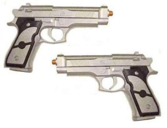 2 Silver Beretta Airsoft Paintball Guns Gun Pistols
