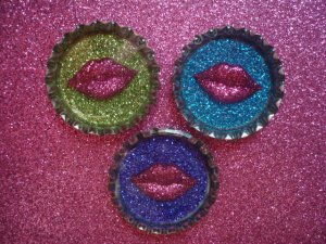 Sealed with a Kiss Glitter Resin Filled Bottle Cap Magnet Set of 3