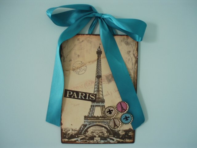 Eiffel Tower Paris Magnetic Board Picture Frame Set of 4 Glitter Magnets Fleur De Lis TEAL