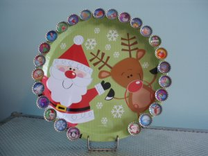Christmas Countdown Advent Calendar Santa Claus Reindeer Magnetic Board 25 Bottle Cap Magnets