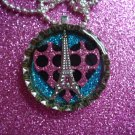 Paris Chic Eiffel Tower on Punk Heart Resin filled Glitter Bottle Cap Necklace with Ball Chain