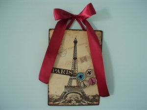 Eiffel Tower Paris Magnetic Board Picture Frame Set of 4 Glitter Magnets Fleur De Lis MAROON