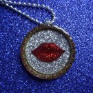 Rocky Horror Red Glitter Lips on Silver Glitter Resin filled Bottle Cap Necklace with Ball Chain