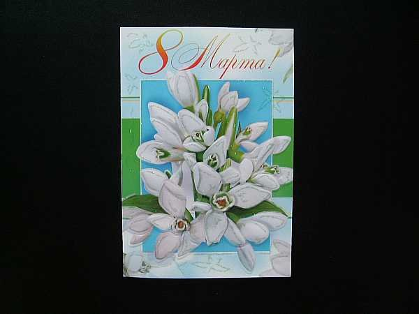 WHITE TULIPS RUSSIAN LANGUAGE MOTHERS WOMANS DAY CARD