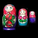 RUSSIAN UKRAINIAN SET OF THREE TRADITIONAL MATRUSHKA DOLLS BLUE