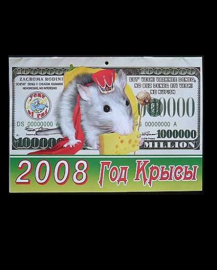 BANKNOTES AND RATS UKRAINIAN AND RUSSIAN LANGUAGE CALENDAR 2008