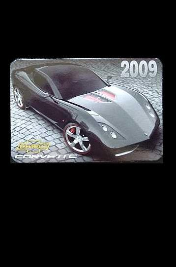 CHEVROLET CORVETTE  RUSSIAN LANGUAGE CALENDAR BOOKMARK 2009